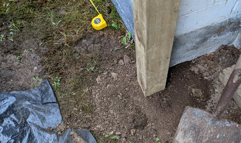 fence post mounted in ground
