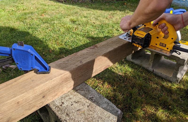 cutting 4 x 4 crossbeam for sawhorses