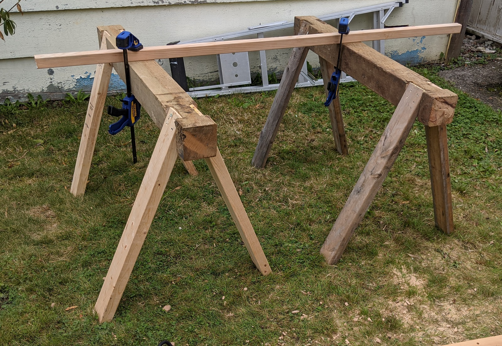 pair of sawhorses in use