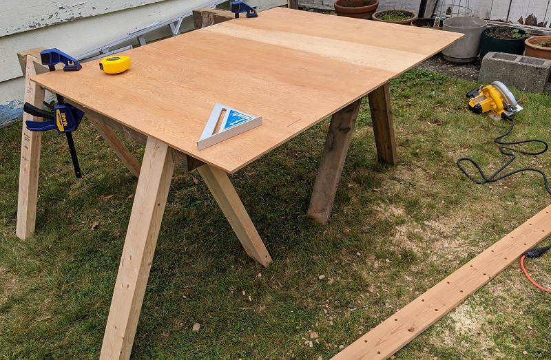 completed sawhorses in use