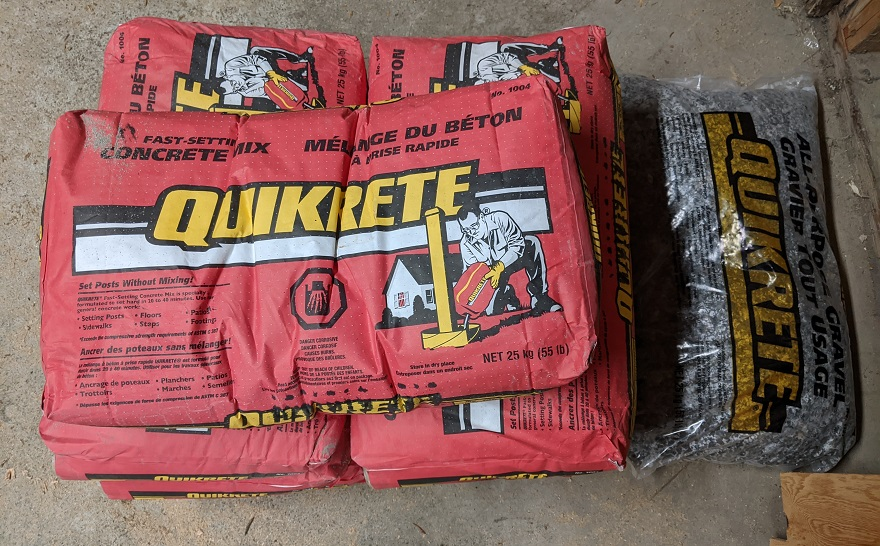 bags of quikrete