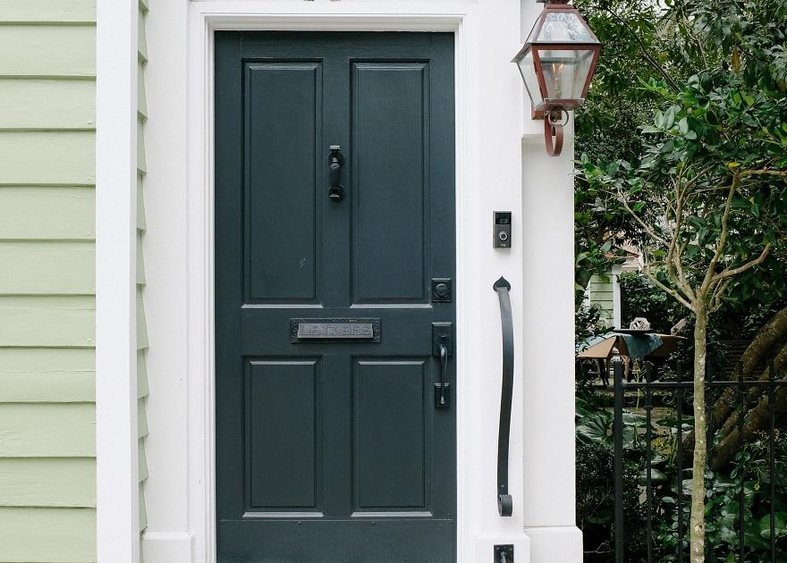 front door with hinges