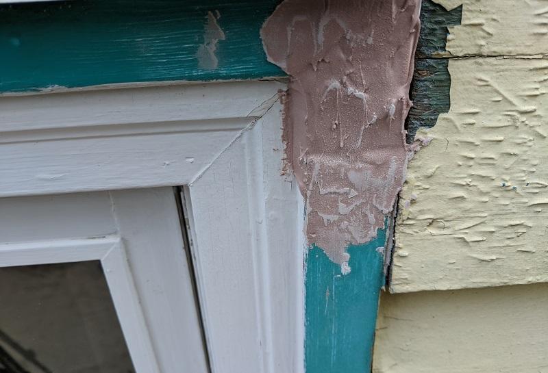 wood filler inside gap in window frame