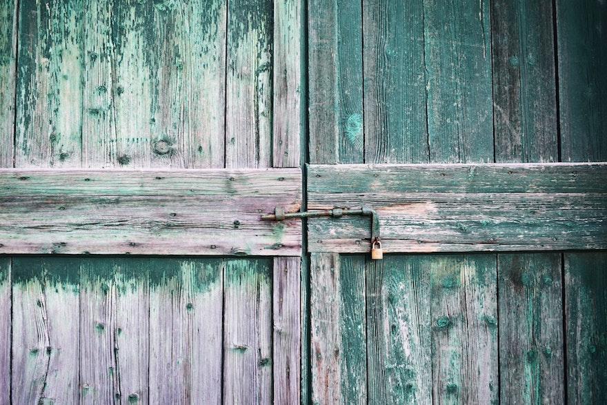 wooden gate paint peeling