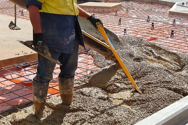 concrete pouring worker