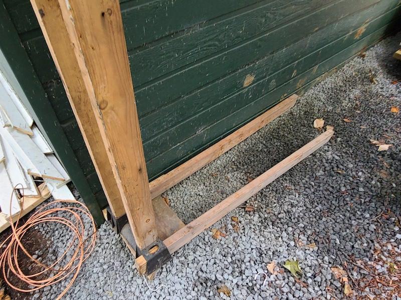 assembling firewood rack frame