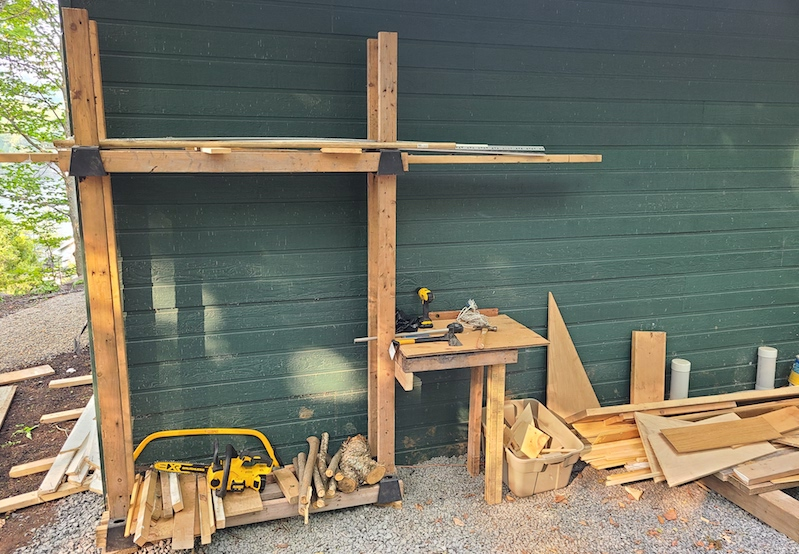 completed firewood rack