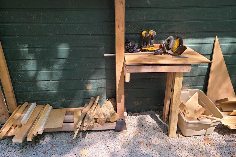 finished firewood rack and workstation