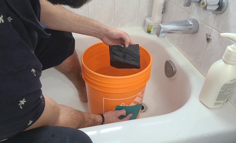 preparing to apply flex tape underwater