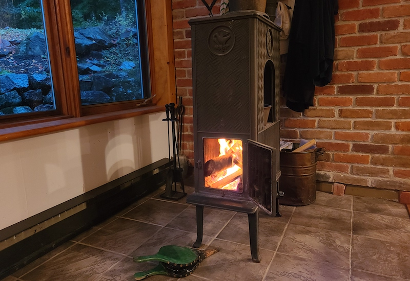 wood stove with fire